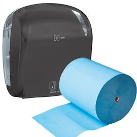 Aktion Sensor Handtuchrollenspender e1 matt schwarz / 330x221x371mm / e one + 6 Handtuchrollen 2-lagig blau (SET = SPENDER + ROLLEN) Produktbild
