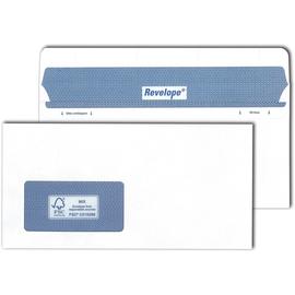 Briefumschlag REVELOPE mit Fenster weiß DIN lang 112x225mm Offset 80g Patent Heißleimverschluss ohne Silikonabdeckung (PACK=500 STÜCK) Produktbild