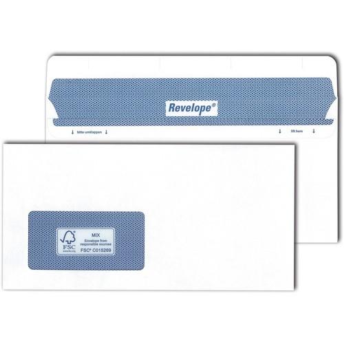 Briefumschlag REVELOPE mit Fenster weiß DIN lang 112x225mm Offset 80g Patent Heißleimverschluss ohne Silikonabdeckung (KTN=500 STÜCK) Produktbild Front View L