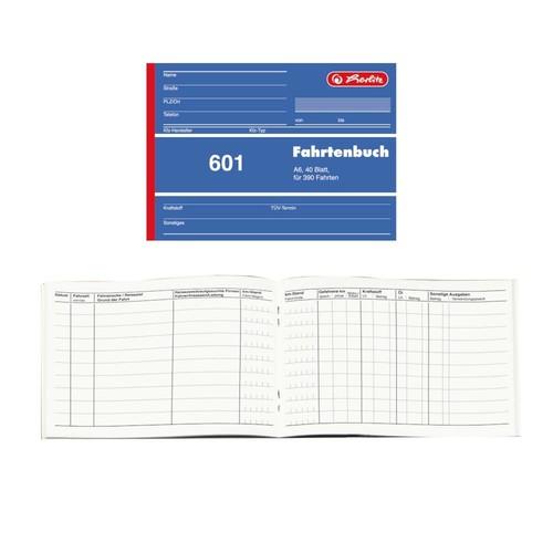 Fahrtenbuch 601 für A6 quer 40 Blatt geheftet Herlitz 840645 Produktbild Front View L