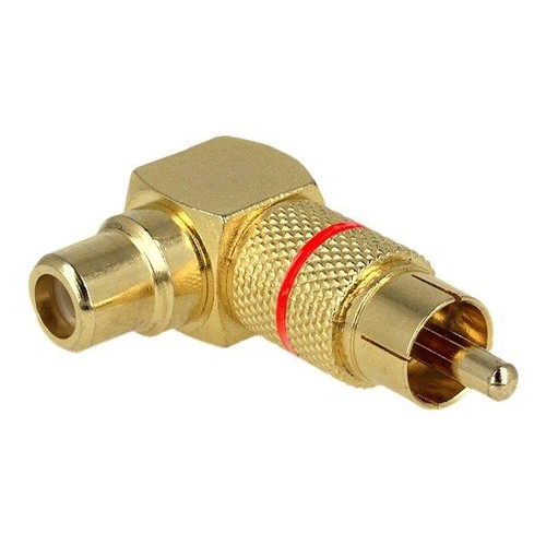 DeLOCK - Video- / Audio-Adapter - RCA (W) bis RCA (M) - Gold - 90° Stecker Produktbild Front View L