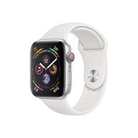 APPLEWatch Series4 GPS+Cellular 44mm Silver Aluminium Case with White Sport Band Produktbild