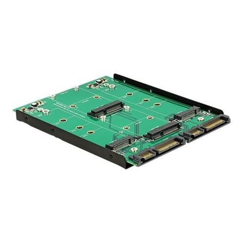 DeLOCK Converter 2 x SATA 22 pin > Dualport 2 x M.2 / 2 x mSATA - Speicher-Controller - mSATA, M.2 - M.2 Produktbild Front View L