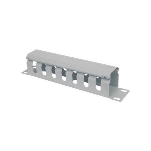 """Intellinet 10"""" Cable Management Panel - Kabelführungsplatte für Schaltschrank - Grau, RAL 7035 - 1U - 25.4 cm (10"""") Produktbild Front View L"""