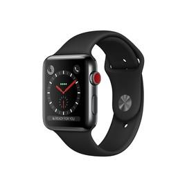 Apple Watch Series 3 (GPS + Cellular) - 42 mm - tiefschwarz Edelstahl - intelligente Uhr mit Sportband - Produktbild