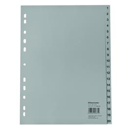 Register A4 225x297mm Zahlen 1-20 grau PP Soennecken 1617 Produktbild
