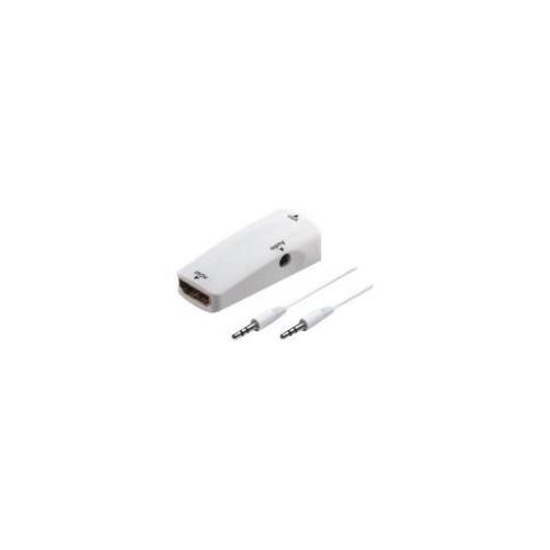 M-CAB - Videoanschluß - HDMI / VGA - HDMI bis DB-15, Mini-Phone Stereo 3,5 mm - weiß - 1080p-Unterstützung Produktbild Front View L