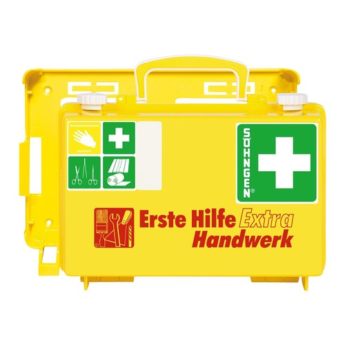 Erste-Hilfe-Koffer EXTRA für Handwerk 26x17x11cm leuchtgelb gefüllt nach DIN 13157 Söhngen 0320125 Produktbild Front View L