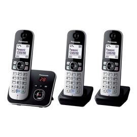 Panasonic KX-TG6823 - Schnurlostelefon - Anrufbeantworter mit Rufnummernanzeige - DECT - Schwarz + 2 zusätzliche Produktbild