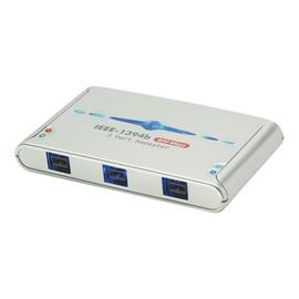 Lindy 3 Port FireWire 800 Repeater Hub - Hub - 3 x IEEE 1394b (FireWire 800) - Desktop Produktbild