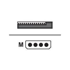 Equip - Netzteil - interne Stromversorgung, 4-polig (M) bis SATA Leistung (M) - 15 cm - Schwarz, Gelb, Produktbild