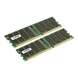 Crucial - DDR - 2 GB: 2 x 1 GB - DIMM 184-PIN - 333 MHz / PC2700 - CL2.5 Produktbild