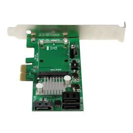 StarTech.com 3 Port PCI Express 2.0 SATA III 6Gb/s Raid Controller Karte mit mSATA Anschluss und HyperDuo SSD Tiering Produktbild
