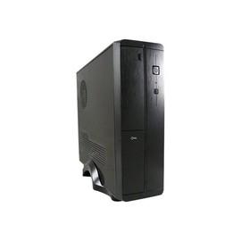 LC Power LC-1402mi - Desktop Slimline - micro ATX 200 Watt (SFX12V 3.21) - Schwarz, Gebürstetes Aluminium / Produktbild