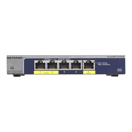 NETGEAR Plus GS105PE - Switch - nicht verwaltet - 2 x 10/100/1000 (PoE+) + 3 x 10/100/1000 - Desktop - PoE+ (19 W) Produktbild