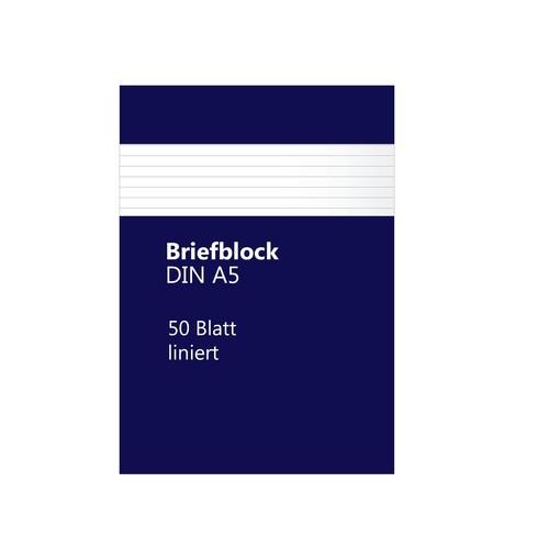 Briefblock A5 liniert 50Blatt 70g holzfrei weiß BestStandard Produktbild Front View L