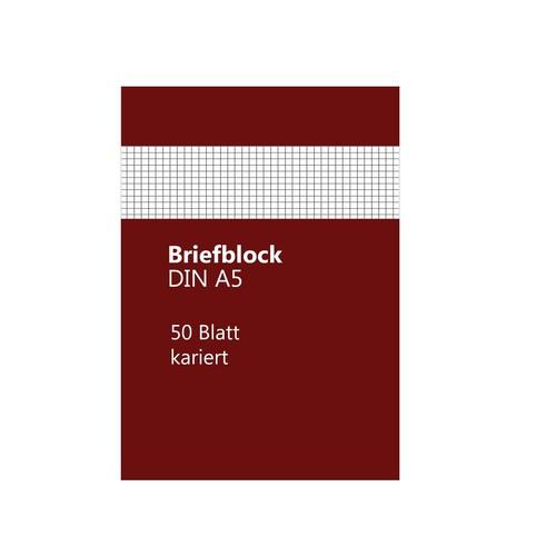 Briefblock A5 kariert 50Blatt 70g holzfrei weiß BestStandard Produktbild Front View L