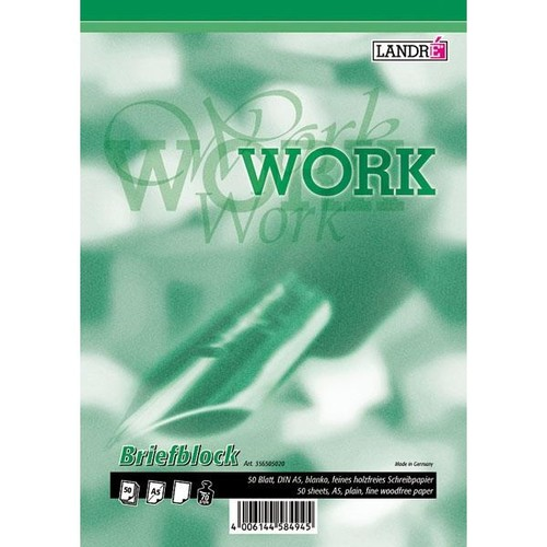 Briefblock Work A5 blanko 50Blatt 70g holzfrei weiß Landré 100050267 Produktbild Additional View 1 L