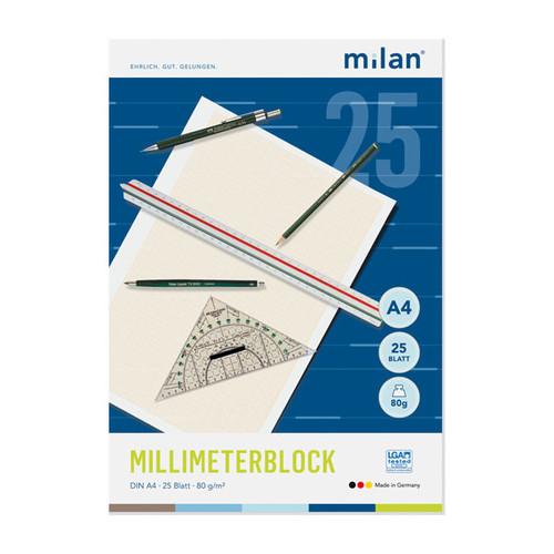Millimeterblock mit 1mm-Teilung A4 25Blatt 80/85g rot Milan 240 Produktbild Front View L
