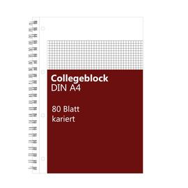 Collegeblock A4 kariert 4-fach Lochung Rand links 80Blatt 70g holzfrei weiß BestStandard Produktbild