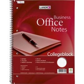 Collegeblock Office A4 kariert 4-fach Lochung Rand links 80Blatt 70g holzfrei weiß Landré 100050247 Produktbild