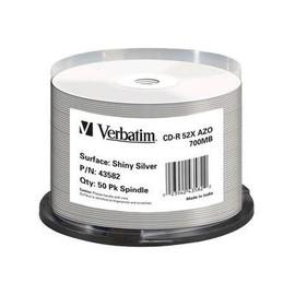 Verbatim - 50 x CD-R - 700 MB (80 Min) 52x - Silber - mit Thermodrucker bedruckbare Oberfläche - Spindel Produktbild