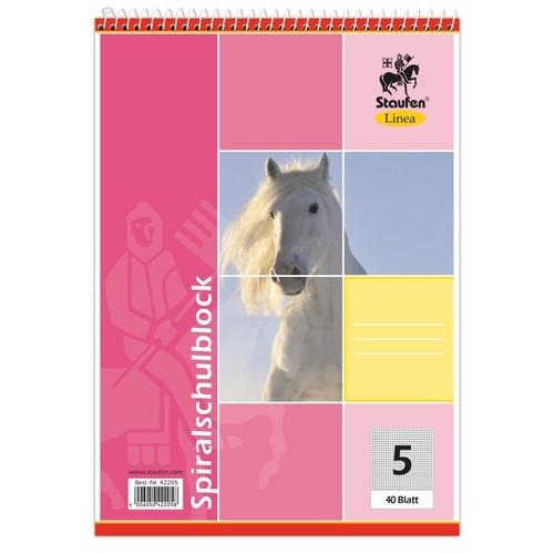 Spiralschulblock A5 Lineatur 5 kariert 40Blatt 70g holzfrei weiß Staufen-Demmler 42205 Produktbild