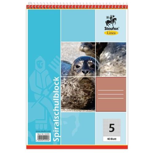 Spiralschulblock A5 Lineatur 5 kariert 40Blatt 70g holzfrei weiß Staufen-Demmler 42205 Produktbild Additional View 1 L