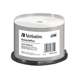 Verbatim DataLifePlus - 50 x CD-R - 700 MB 52x - weiß - mit Tintenstrahldrucker bedruckbare Oberfläche, breite Produktbild