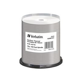 Verbatim - 100 x CD-R - 700 MB 52x - breite bedruckbare Oberfläche, bedruckbare Fläche für Thermo-Retransfer Produktbild