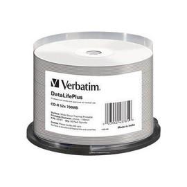 Verbatim DataLifePlus - 50 x CD-R - 700 MB 52x - Silber - breite Thermodruckfläche - Spindel Produktbild