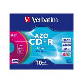 Verbatim AZO Colours - 10 x CD-R - 700 MB (80 Min) 52x - Blau, Magenta, grün, orange, violett - Slim Jewel Case Produktbild