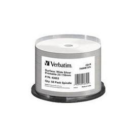 Verbatim - 50 x CD-R - 700 MB (80 Min) 52x - Wide Silver - mit Tintenstrahldrucker bedruckbare Produktbild