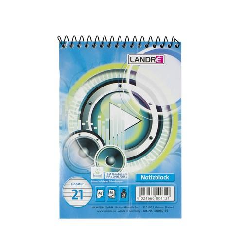 Spiralnotizblock Work A6 liniert 40Blatt 70g holzfrei weiß Landré 100050192 Produktbild Front View L