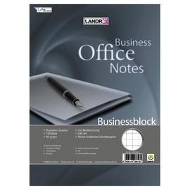 Businessblock A4 grau kariert Eurolochung mit Spirale 100Blatt 80g holzfrei weiß Landré 100555411 Produktbild