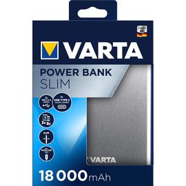 USB-Powerbank Slim mit 2 Ausgängen 5V 18000mAh Lithium-Polymer Akku schwarz Varta 57967 Produktbild