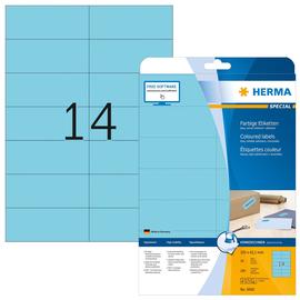 Etiketten Inkjet+Laser+Kopier 105x42,3mm auf A4 Bögen matt blau ablösbar Herma 5060 (PACK=280 STÜCK) Produktbild