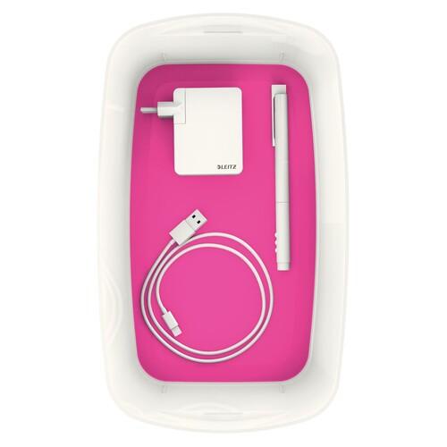 Aufbewahrungsbox MyBox mit Deckel für A5 318x128x191mm 5Liter weiß/pink Kunststoff Leitz 5229-10-23 Produktbild Additional View 4 L