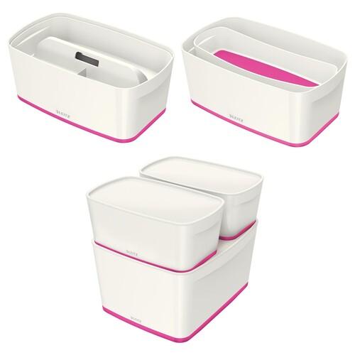 Aufbewahrungsbox MyBox mit Deckel für A5 318x128x191mm 5Liter weiß/pink Kunststoff Leitz 5229-10-23 Produktbild Additional View 8 L