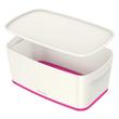 Aufbewahrungsbox MyBox mit Deckel für A5 318x128x191mm 5Liter weiß/pink Kunststoff Leitz 5229-10-23 Produktbild