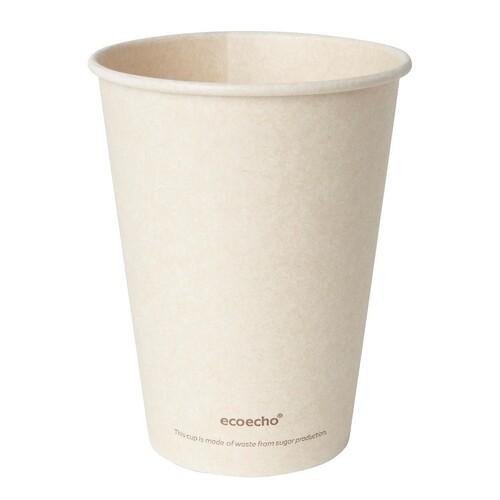 Coffee to Go Becher 0,35l Ø90mm Bagasse+PLA ecoecho (PACK=50 STÜCK) Produktbild Front View L