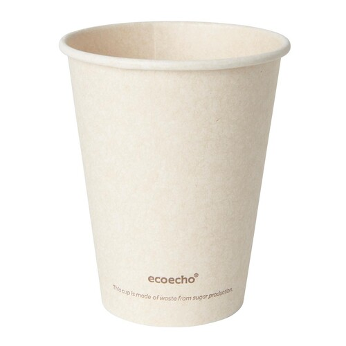 Coffee to Go Becher 0,24l Ø80mm Bagasse+PLA ecoecho Duni 182532 (PACK=50 STÜCK) Produktbild Front View L
