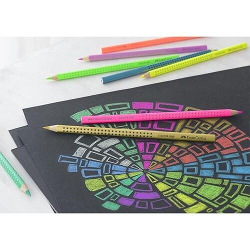 Farbstift mit Noppen COLOUR GRIP dreikant neon grün Faber Castell 112410 Produktbild Additional View 1 L