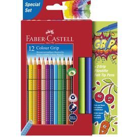 Farbstifte mit Noppen COLOUR GRIP dreikant Kartonetui sortiert Faber Castell 201640 (PACK = 12X BUNTSTIFTE + 2X GRIP FILZSTIFTE) Produktbild