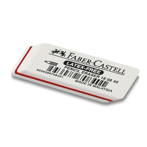 Radiergummi LATEX-FREE 50x10x19mm weiß Naturkautschuk Faber Castell 180840 Produktbild Front View L