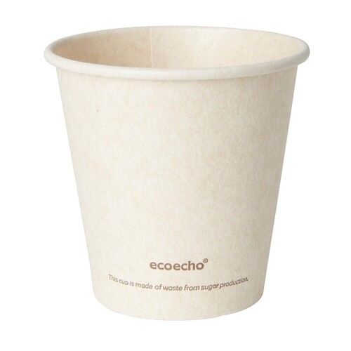 Coffee to Go Becher 0,18l Ø80mm Bagasse+PLA ecoecho Duni 182531 (PACK=50 STÜCK) Produktbild Front View L