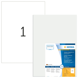 Folien-Etiketten Laser+Kopier A3 420x297mm wetterfest weiß Herma 9544 (PACK=40 STÜCK) Produktbild