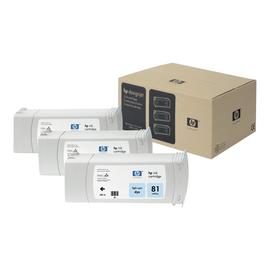 HP 81 - 3er-Pack - hell Cyan - Original - Tintenpatrone - für DesignJet 5000, 5000ps, 5000ps uv, 5000uv, 5500, 5500 Produktbild