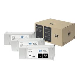 HP 83 - 3er-Pack - Schwarz - Original - Tintenpatrone - für DesignJet 5000, 5000ps, 5000ps uv, 5000uv, 5500 uv, Produktbild