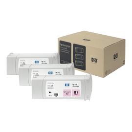 HP 81 - 3er-Pack - hellmagentafarben - Original - Tintenpatrone - für DesignJet 5000, 5000ps, 5000ps uv, 5000uv, 5500, Produktbild